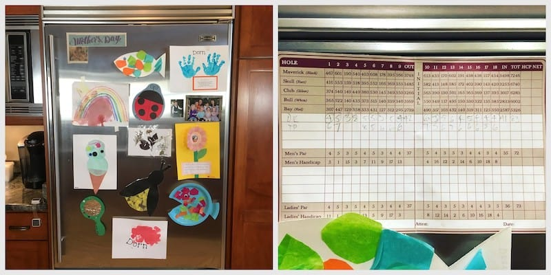 C'MON MAMA fridge art Child Handprints & Artwork and Husband's Golf Scorecard on Fridge