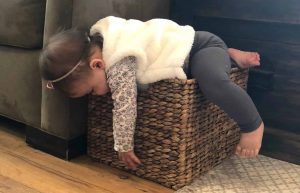 C'MON MAMA's baby passed out on box like the way a Stay at Home Mom feels