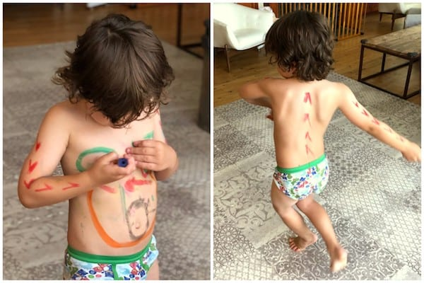 KWIK STIX paint crayons dinosaur body paint all over little boy