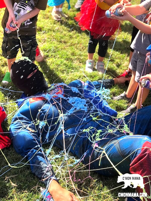 avengers birthday party spider web game