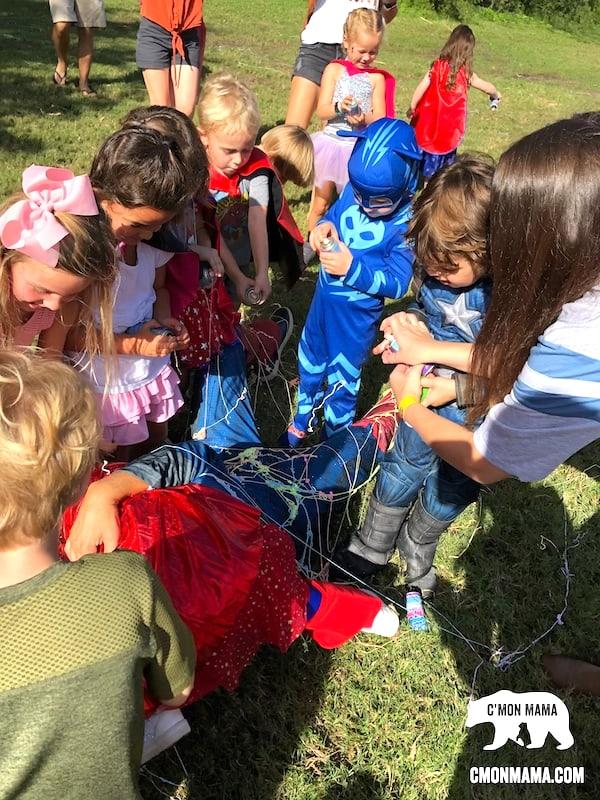 avengers birthday party spiderweb game