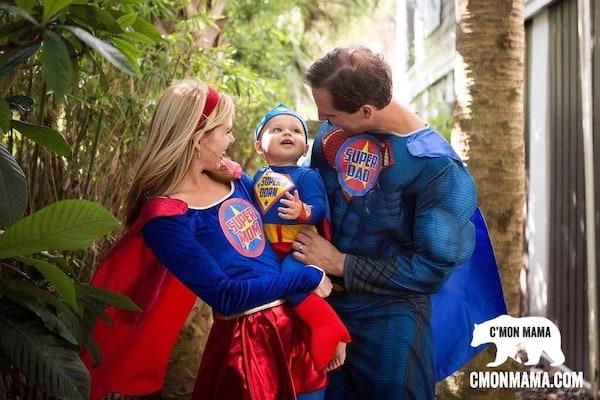 Superhero Birthday Party family costumes