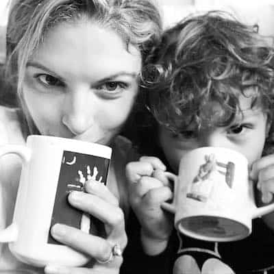 boymom mom drinking coffee with son