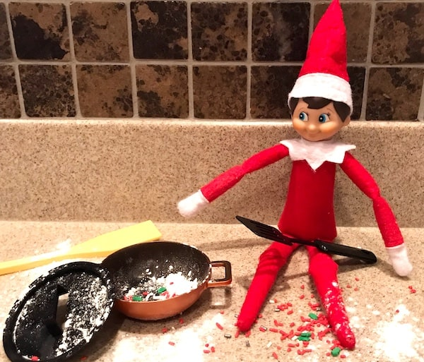 elf on the shelf idea kitchen cooking