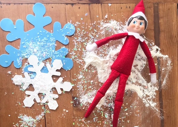 elf on the shelf idea snow angel