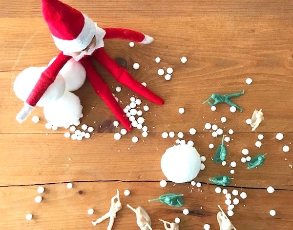 elf on the shelf idea snowball fight